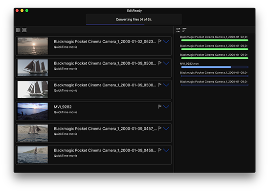 EditReady screenshot, clip list view showing camera video file stills and status of batch transcode progress.