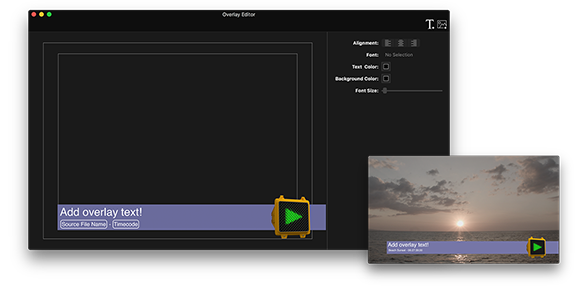 Screenshot of EditReady overlay editor, create video burnins by dragging and dropping images, text and metadata fields onto the video frame.
