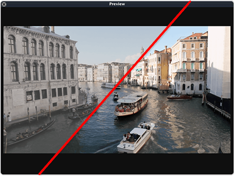 Preview monitor of live video with and wihtout LUT applied