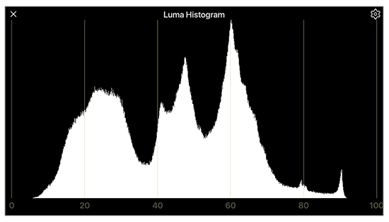 Luma histogram show contrast and shadow or highlight clipping of live video signal
