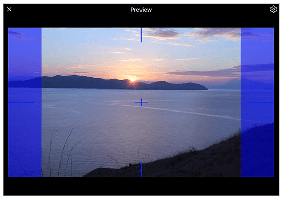 Preview palette recreates all features of a produciton monitor including realtime aspect ratio masking