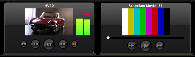 Examples of the live source (left) and QuickTime source (right) Source Palettes.