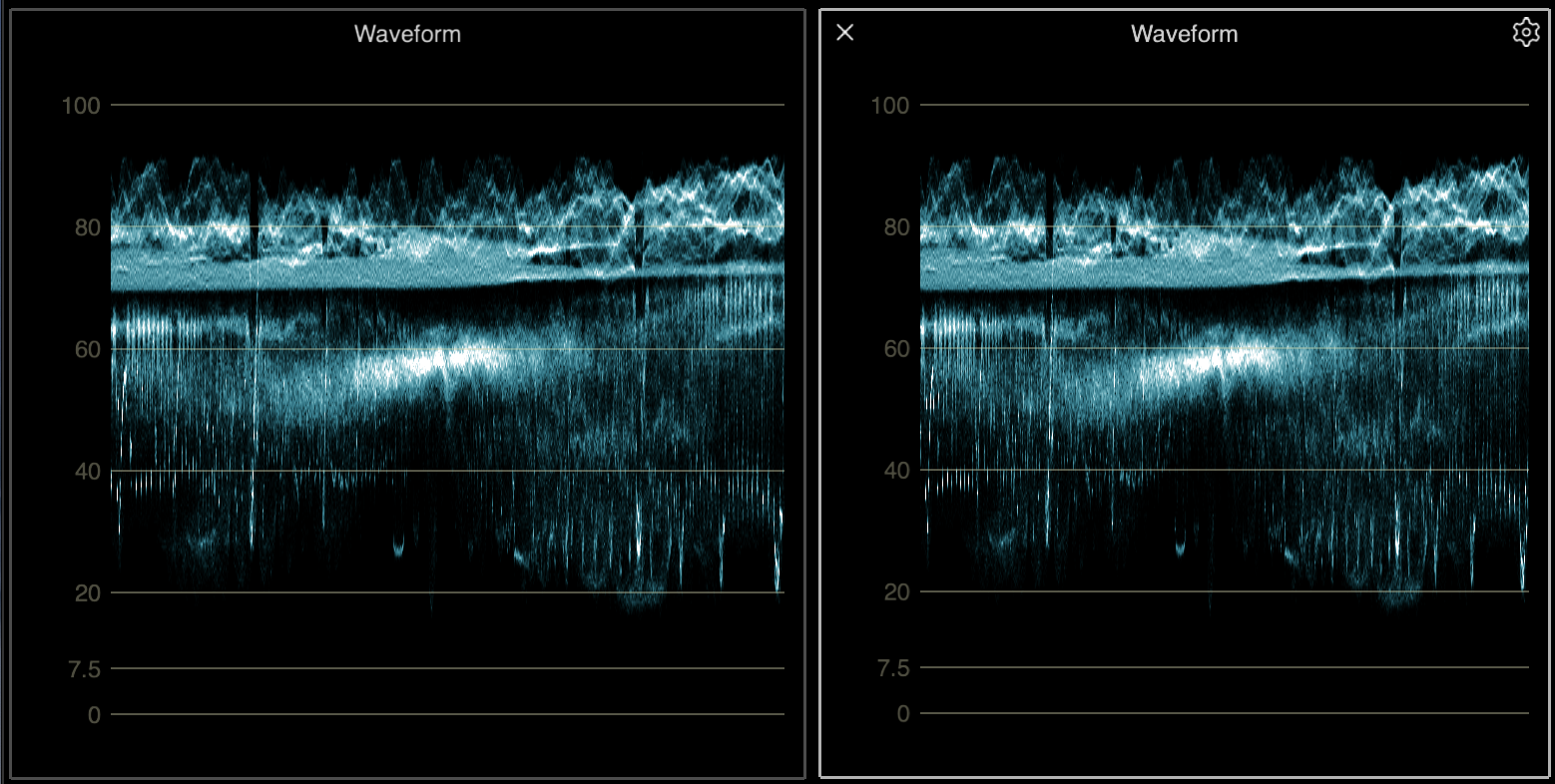 A waveform palette unselected (left) and selected (right)